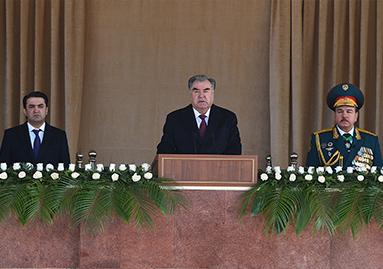 Поздравительная речь Президента Республики Таджикистан, Верховного Главнокомандующего Вооруженными силами, генерала армии Эмомали Рахмона на военном параде в честь 27-й годовщины образования Вооруженных сил Республики Таджикистан